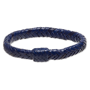 bracelet, bangle, leather (dyed), blue, 15mm wide with braided design, 7-1/2 inches. sold individually.