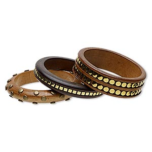 bracelet, bangle, stained wood and gold-coated plastic, light brown / brown / dark brown, 15-24mm wide with octagon / square / round studs, 7-1/2 inches. sold per pkg of 3.