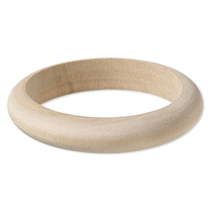 bracelet, bangle, wood (natural), 15mm wide half round, 8 inches. sold individually.