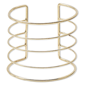 bracelet component, cuff, gold-finished steel, 60mm wide with 5 rows, adjustable from 7 to 7-1/2 inches. sold individually.