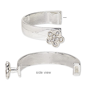 bracelet component, glass rhinestone and silver-finished pewter (zinc-based alloy), clear, 10.5mm wide with 14.5x14mm flower, 42x26mm inside diameter with 5.5x2mm glue-in end. sold individually.