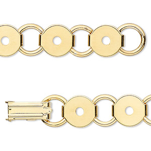 bracelet component, gold-plated steel, (12) 9.5mm round link settings, 7 inches with fold-over clasp. sold per pkg of 2.