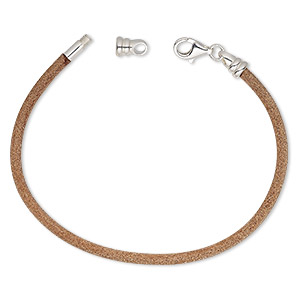 bracelet cord, dione, leather (natural) and sterling silver, 3mm round with twist-off end, 7 inches with lobster claw clasp. sold individually.