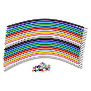 bracelet cord, silicone and stainless steel, assorted colors, 4mm round, 7-1/2 inches with pop-style clasp. sold per pkg of 24.