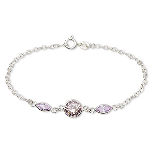bracelet, cubic zirconia and sterling silver, pink and lavender, 8mm faceted round and 8x4mm faceted marquise, 7 inches with springring clasp. sold individually.