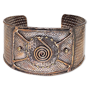 bracelet, cuff, antique copper-plated brass, 40mm wide with hammered and spiral design, adjustable from 8-9 inches. sold individually.
