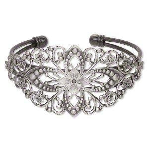 bracelet, cuff, antique silver-plated brass, 35mm wide with filigree flower design, adjustable from 6-7 inches. sold individually.