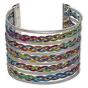 bracelet, cuff, antique silver-plated steel, multicolored, 57mm wide with weave pattern, 7 inches. sold individually.