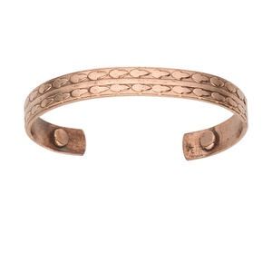 bracelet, cuff, antiqued copper, 10mm wide, 6-1/2 to 7-1/2 inches inside diameter with magnetic ends. sold individually.