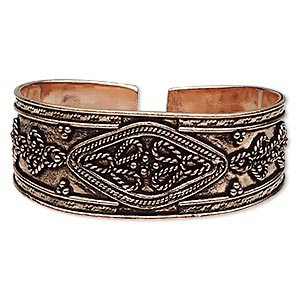 bracelet, cuff, antiqued copper, 24mm wide with fancy twist design, adjustable. sold individually.