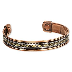 bracelet, cuff, copper / brass / aluminum / iron, 11mm wide, 7 to 7-1/2 inches with magnetic ends. sold individually.