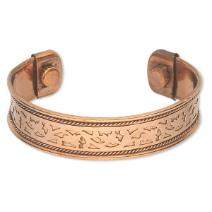 bracelet, cuff, copper, 17mm wide with cutout pattern, adjustable from 7-8 inches with magnetic ends. sold individually.