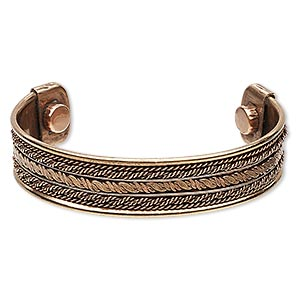 bracelet, cuff, copper and steel, 17mm wide with twist design, adjustable from 7-8 inches with magnetic ends. sold individually.