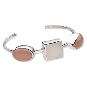 bracelet, cuff, druzy agate / pink chalcedony (natural / dyed) / sterling silver, 16mm wide, 7-1/2 inches. sold individually.