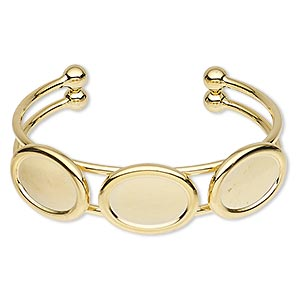 bracelet, cuff, gold-plated brass and pewter (zinc-based alloy), 18mm wide with (3) 18x13mm oval settings, adjustable. sold individually.