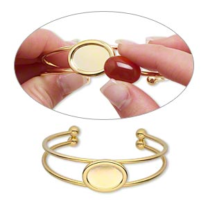 bracelet, cuff, gold-plated brass and pewter (zinc-based alloy), 65x18mm with 18x13mm oval setting, adjustable. sold individually.