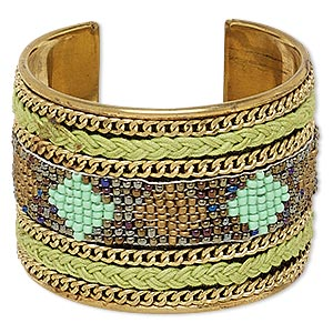 bracelet, cuff, polyester / glass / brass, iridescent multicolored, 52mm wide with diamond design, 7 inches. sold individually.