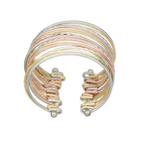 bracelet, cuff, silver- / copper-plated / gold-finished steel, 26mm wide 13 band, 2-1/2 inch inside diameter. sold individually.
