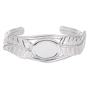 bracelet, cuff, silver-plated brass / steel / pewter (zinc-based alloy), 22mm wide with 65x18mm feather and 18x13mm oval setting, adjustable. sold individually.
