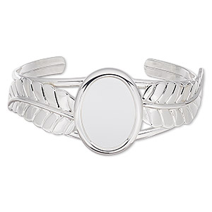 bracelet, cuff, silver-plated brass / steel / pewter (zinc-based alloy), 30mm wide with 65x31mm feather and 25x18mm oval setting, adjustable. sold individually.