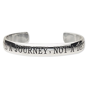 bracelet, cuff, silver-plated brass, 11mm wide with happiness is a journey, not a destination, 7-1/2 inches. sold individually.