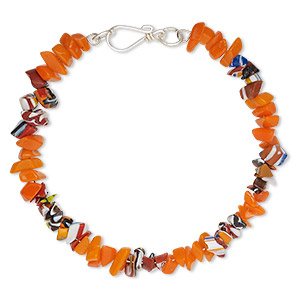 bracelet, glass / chevron glass / steel memory wire, multicolored, 7.5mm wide with chip, 7-1/2 inches with hook clasp. sold individually.