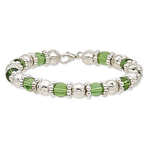 bracelet, glass / steel memory wire / silver-coated plastic, green, 9mm wide with rose design, 6-1/2 inches with lobster claw clasp. sold individually.
