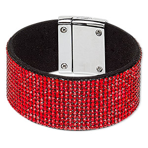 bracelet, glass rhinestone / faux suede / imitation rhodium-plated pewter (zinc-based alloy), black and red, 31mm wide, 6-1/2 inches with magnetic clasp. sold individually.