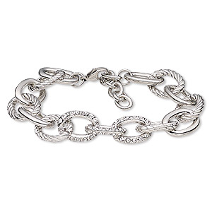 bracelet, glass rhinestone / imitation rhodium-plated brass / steel / pewter (zinc-based alloy), clear, 14mm cable. 6-1/2 inches with 1-1/2 inch extender chain and lobster claw clasp. sold individually.
