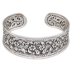 bracelet, hill tribes, cuff, antique silver-plated brass, 24mm wide with flower design, adjustable. sold individually.