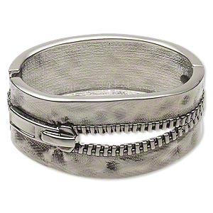 bracelet, hinged bangle, antique rhodium-plated pewter (zinc-based alloy), 31mm wide with zipper design, 6-1/2 inches. sold individually.