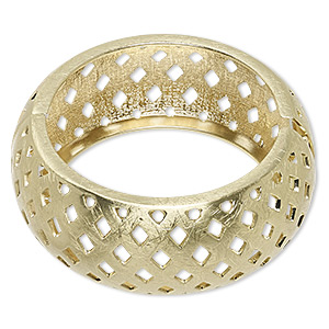 bracelet, hinged bangle, gold-finished steel and pewter (zinc-based alloy), 29.5mm wide brushed band with cutout basket weave design, 7 inches. sold individually.