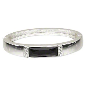 bracelet, hinged bangle, silver-finished pewter (zinc-based alloy)/epoxy/czech crystal, black and clear, 10mm wide, 2-1/4 inch inside diameter. sold individually.