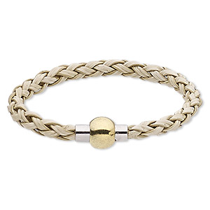 bracelet, imitation leather with gold- and silver-finished pewter (zinc-based alloy), tan, 6mm wide braided round, 6-1/2 inches with magnetic clasp. sold individually.