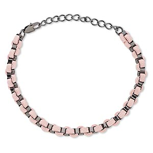 bracelet, imitation leather with gunmetal-finished brass and steel, pink, 6mm wide, 6-1/2 inches with 2-inch extender chain and lobster claw clasp. sold individually.