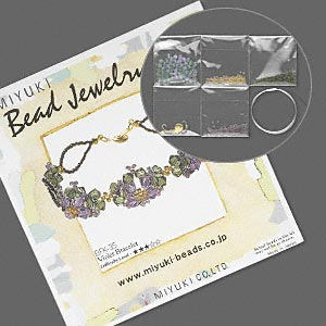 bracelet kit, miyuki, violet flower, glass and plated brass, 7 inches, difficulty level 3 out of 5. sold individually.