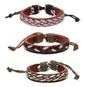 bracelet, leather / cotton cord (dyed) / polyurethane, multicolored, 12mm wide, adjustable from 6-8 inches with knot closure. sold per pkg of 3.