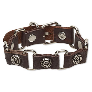 bracelet, leather (dyed) / imitation rhodium-plated steel / antique silver-plated pewter (zinc-based alloy), brown, 21mm wide with 13x12mm rose, adjustable at 6 and 7-1/2 inches with buckle-style closure. sold individually.