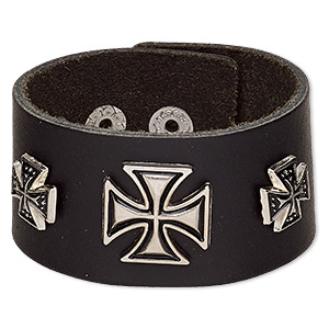 bracelet, leather (dyed) / silver-plated steel / antique silver-plated pewter (zinc-based alloy), black, 35mm wide with 10mm and 18mm iron cross, adjustable from 5 to 6-1/2 inches with snap closure. sold individually.