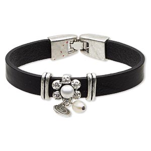 bracelet, leather (dyed) / swarovski crystals / acrylic / antique silver-plated pewter (zinc-based alloy), white and clear, 15mm wide with flower, 6-1/2 inches with fold-over clasp. sold individually.