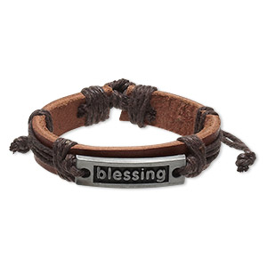 bracelet, leather (dyed) / waxed cotton cord / antiqued pewter (zinc-based alloy), brown, 12mm wide with 36x10mm rectangle with blessing, adjustable from 6 to 8-1/2 inches with knot closure. sold per pkg of 2.