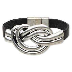 bracelet, leather (dyed) and antique silver-plated pewter (zinc-based alloy), black, 9mm wide with 61x35mm double knot, 6-1/2 inches with magnetic clasp. sold individually.