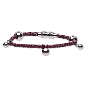 bracelet, leather (dyed) and stainless steel, dark purple, 10mm wide with 4mm bola cord, 6-1/2 inches with magnetic clasp. sold individually.