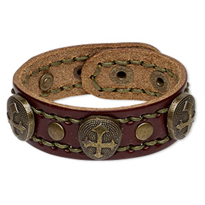 bracelet, leather (dyed) with antique brass-plated steel and pewter (zinc-based alloy), brown and olive green, 24mm wide with 20x18mm teardrop and cross design, adjustable at 6 and 6-1/2 inches with snap closure. sold individually.