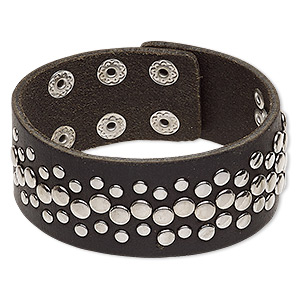 bracelet, leather (dyed) with imitation rhodium-plated steel and pewter (zinc-based alloy), black, 30mm wide with round studs, adjustable from 6 to 7-1/2 inches with double snap closure. sold individually.