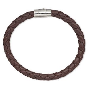 bracelet, leatherette and imitation rhodium-plated brass, brown, 6mm wide braided, 7 inches with magnetic locking tube clasp. sold individually.
