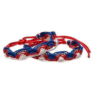 bracelet, macrame, nylon, red / white / blue, 15mm wide, 7-8 inches with tie closure. sold per pkg of 2.
