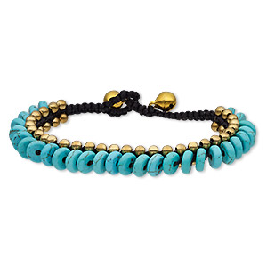 bracelet, magnesite (dyed / stabilized) / waxed cotton cord / brass / brass-plated steel, black and blue, 10mm wide with rondelle and bells, adjustable from 6-1/2 and 7-1/2 inches with button clasp. sold individually.