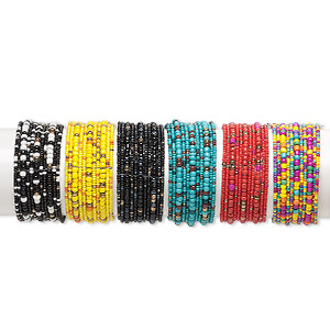 bracelet mix, 11-strand, glass and steel, mixed colors, 30mm wide, adjustable from 7-8 inches. sold per pkg of 6.