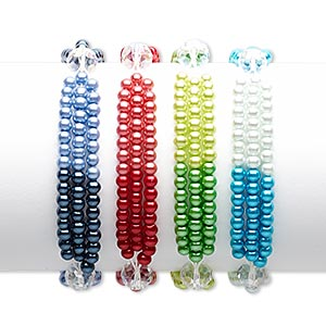 bracelet mix, 3-strand stretch, glass and glass pearl, mixed ab colors, 4mm round and 10x8mm faceted rondelle, 7 inches. sold per pkg of 4.